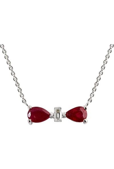 Clavis Jewelry Safirli Baget Kesim Pırlantalı Fiyonk Kolye 8 Ayar