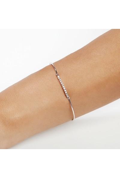 Clavis Jewelry Sıra Pırlantataşlı Bileklik 14 Ayar