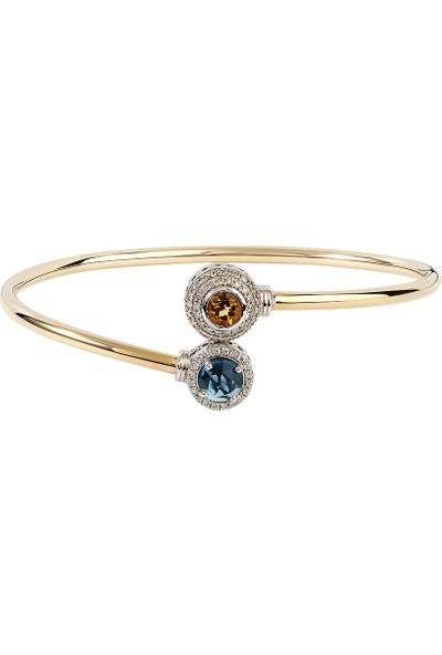 Clavis Jewelry Sitrin ve Mavi Topaz Taşlı Pırlanta Bileklik 8 Ayar