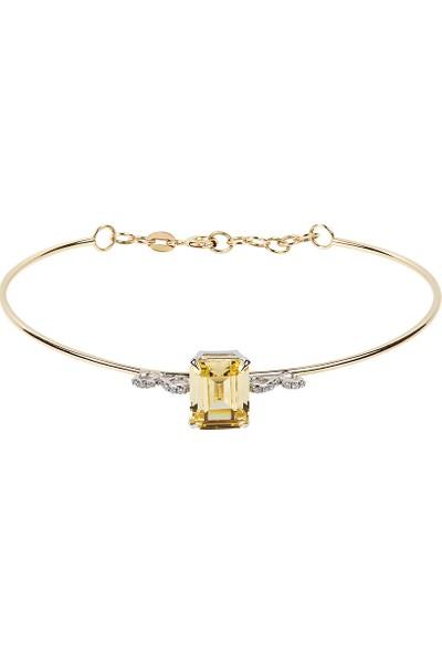 Clavis Jewelry Sitrin ve Pırlanta Taşlı Bilezik 14 Ayar