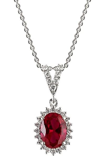 Clavis Jewelry Yakut Taşlı Pırlanta Kolye 18 Ayar
