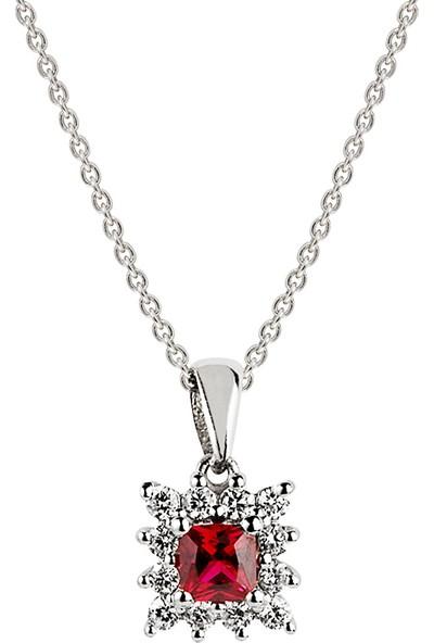 Clavis Jewelry Yakut Taşlı Pırlanta Kolye 14 Ayar