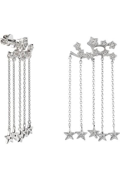 Clavis Jewelry Yıldız Sallantılı Pırlanta Yıldız Küpe 14 Ayar