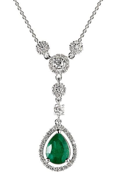 Clavis Jewelry Zümrüt Taşlı Fantezi Kolye 14 Ayar