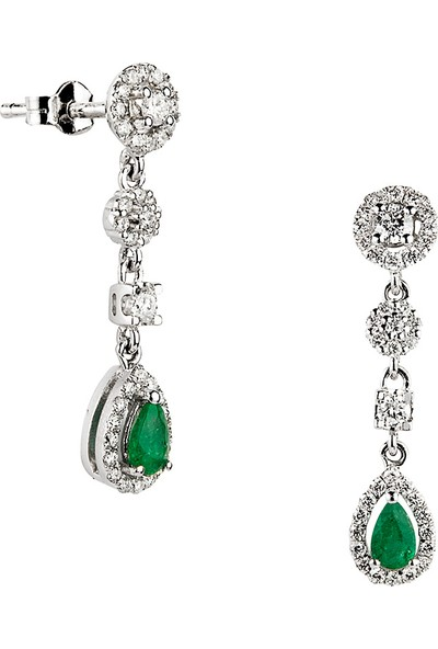 Clavis Jewelry Zümrüt Taşlı Fantezi Küpe 14 Ayar