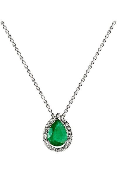 Clavis Jewelry Zümrüt Taşlı Pırlanta Kolye 14 Ayar