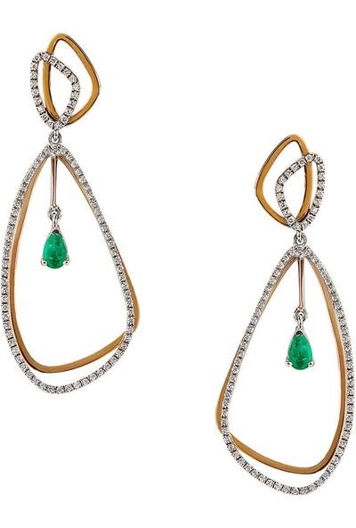 Clavis Jewelry Zümrüt Taşlı Pırlanta Küpe 8 Ayar