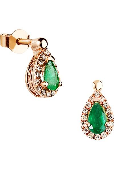 Clavis Jewelry Zümrüt Taşlı Pırlanta Küpe 18 Ayar