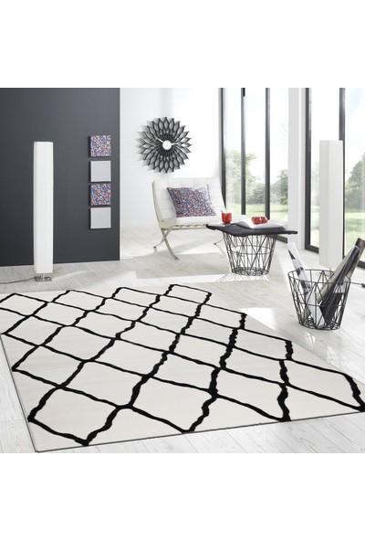 Hepsi Home Nazlı Beyaz-Siyah Halı 07170A 80x150 Cm