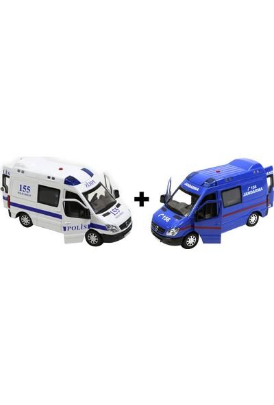 Yeşil Oyuncak Metal Polis Arabası ve Oyuncak Jandarma Ikili Set