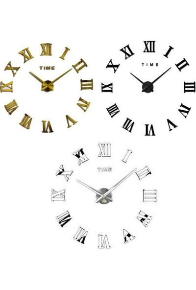 Bihobim Duvar Saati 3D Büyük Romen Rakamlı Dekoratif Büyük Duvar Saati