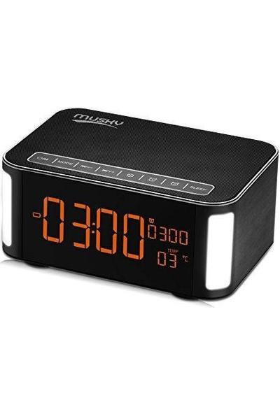 Musky DY32L LED Işıklı Bluetooth Hoparlör + Masaüstü Çalar Saat