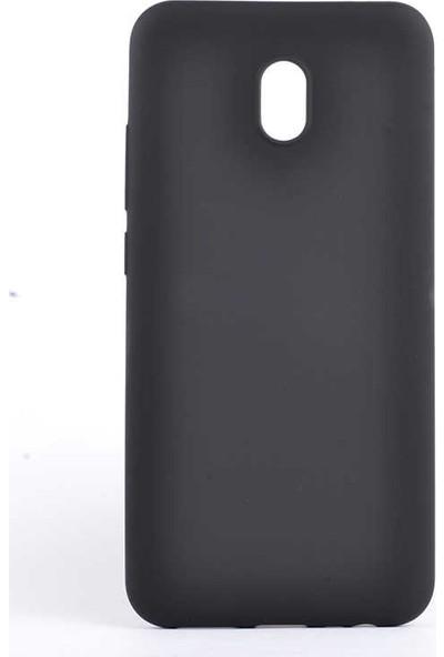 Tekno Grup Xiaomi Redmi 8A Kılıf Mat Premium Silikon Kılıf - Siyah + Cam Ekran Koruyucu