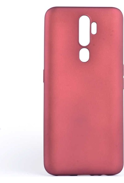 Tekno Grup Oppo A9 2020 Kılıf Mat Premium Silikon Kılıf - Bordo + Tam Kaplayan 6D Nano Ekran Koruyucu