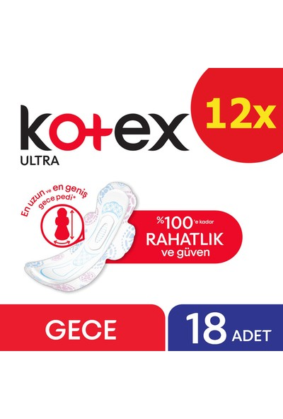 Kotex Ultra Hijyenik Gece 18 Adet Ped 12'li Set