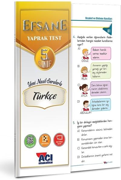 Açı 5. Sınıf Türkçe Çek Kopart Yaprak Test