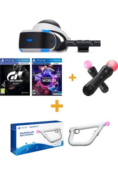 Sony PlayStation VR + Ps4 Camera V2 + Vr Worlds + Gran Turismo Sport + VR Move + Aim Controller