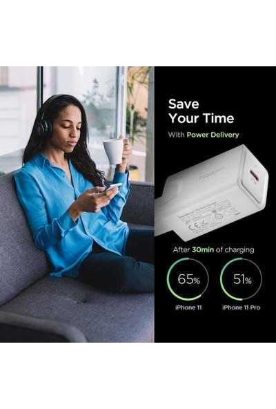 Spigen SteadiBoost 27W Hızlı Şarj Cihazı USB-C PD 3.0 (Power Delivery) Duvar Şarjı F210 - 000CA26477