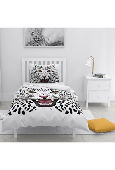 Monohome White Leopard Naturel Tek Kişilik Nevresim Takımı
