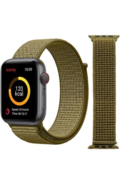 Schulzz Apple iWatch Özel Seri 42-44 mm 2-3-4-5 Uyumlu Spor Loop Dokuma Kordon - Yeşil