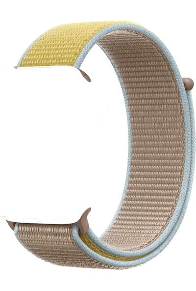 Schulzz Apple iWatch Özel Seri 42-44 mm 2-3-4-5 Uyumlu Spor Loop Dokuma Kordon - Kahverengi