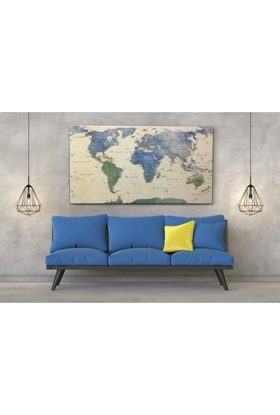 Mapofx Detaylı Dünya Haritası Kanvas Tablo