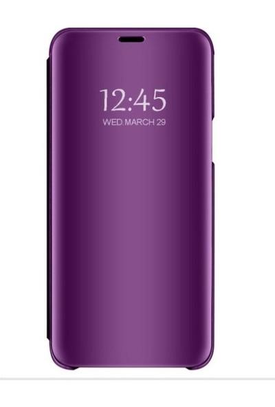 Magazabu Samsung Galaxy S9 Plus Kapaklı Kılıf Clear View Aynalı Flip Cover Wallet Kılıf Mor