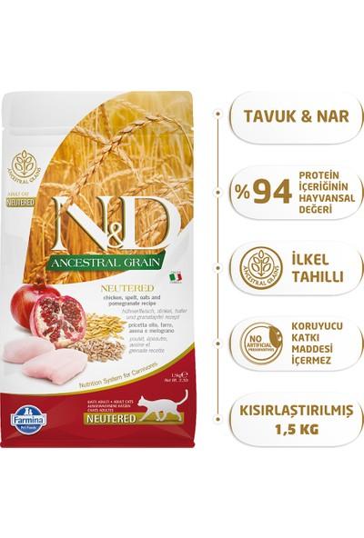 N & D Düşük Tahıllı Tavuk Ve Narlı Kısırlaştırılmış Yetişkin Kedi Maması 1,5 Kg