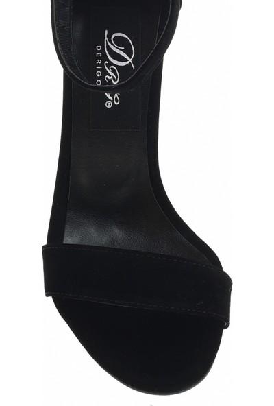 Derigo 19631Siyah Süet Kadın Topuklu Ayakkabı