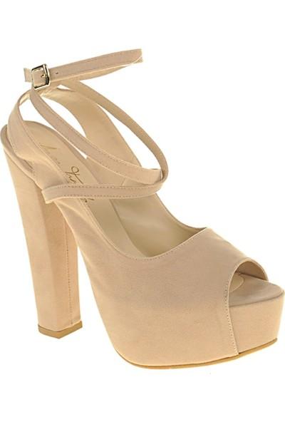 Derigo 241813Ten Süet Kadın Klasik Topuklu Ayakkabı