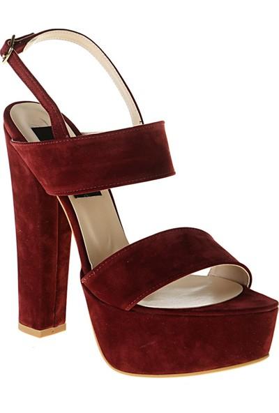 Derigo 241820Bordo Süet Kadın Topuklu Ayakkabı