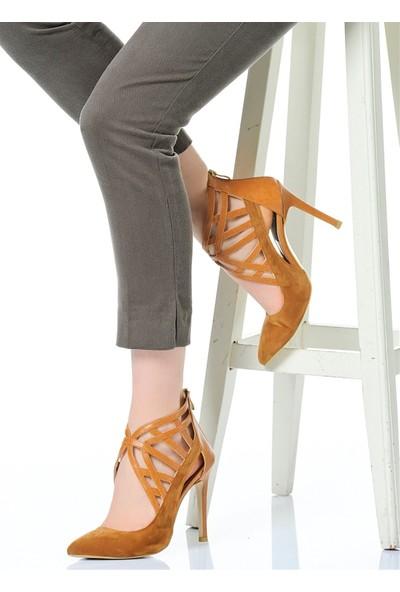 Derigo 241840Taba Süet+Taba Cilt Kadın Topuklu Ayakkabı