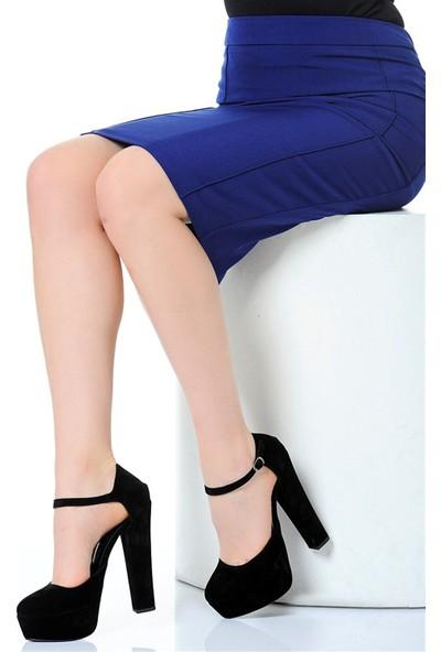 Derigo 241850Siyah Süet Kadın Topuklu Ayakkabı