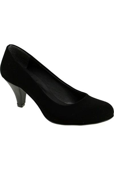 Derigo 251804Siyah Süet Kadın Klasik Topuklu Ayakkabı