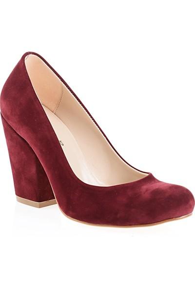 Derigo 2818192Bordo Süet Kadın Klasik Topuklu Ayakkabı