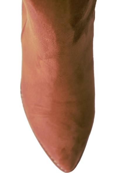 Derigo 39401Taba Süet Kadın Fermuarlı Bot