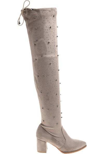 Derigo 41519Gri Süet Kadın Çizme