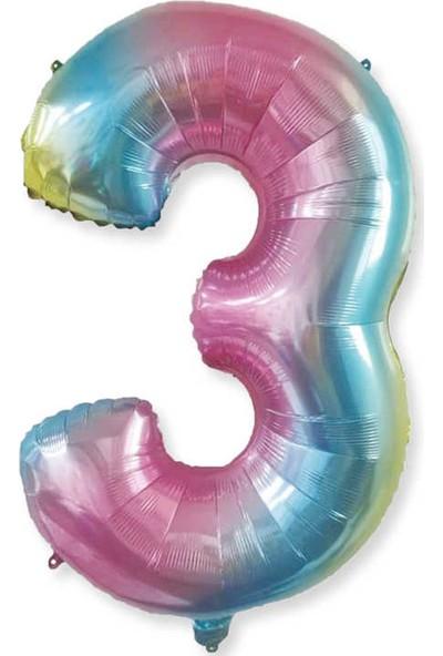 Tahtakale Toptancısı Rakam Folyo Balon Rengarenk Sayı Folyo Balon 100 cm 3 Yaş Için