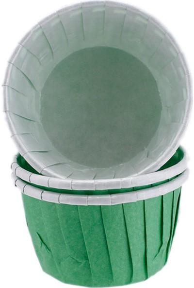 Tahtakale Toptancısı Cupcake Kalıbı Minik Boy Düz Renk 38x30 mm 50 Adet Yeşil