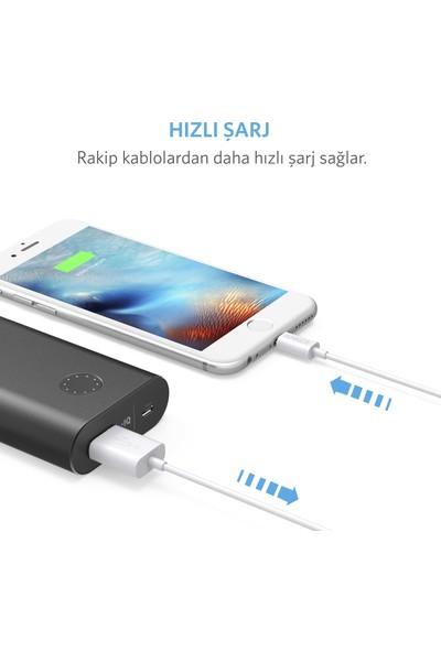 Anker Premium Lightning USB Apple iPhone Şarj/Data Kablosu - MFI Lisanslı Beyaz 0.9m - A7101