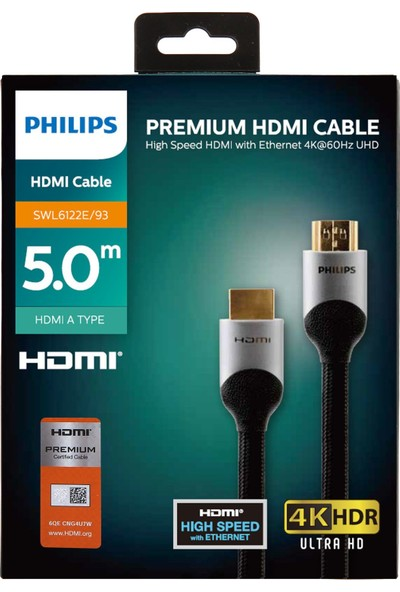 PhilipsSWL610220E Premium HDMI Kablo Altın Uçlu 4K Kablo 5 mt
