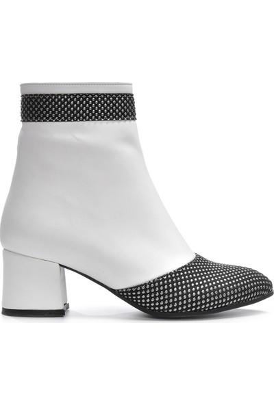 Vizon Kadın Beyaz-Gümüş Bot Vzn19-114K