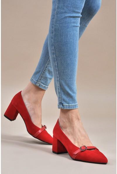 Vizon Kadın Kırmızı-Süet Klasik Topuklu Ayakkabı Vzn19-110K
