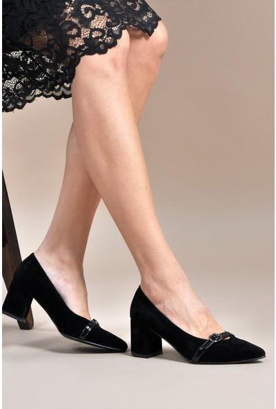 Vizon Kadın Siyah-Süet Klasik Topuklu Ayakkabı Vzn19-110K