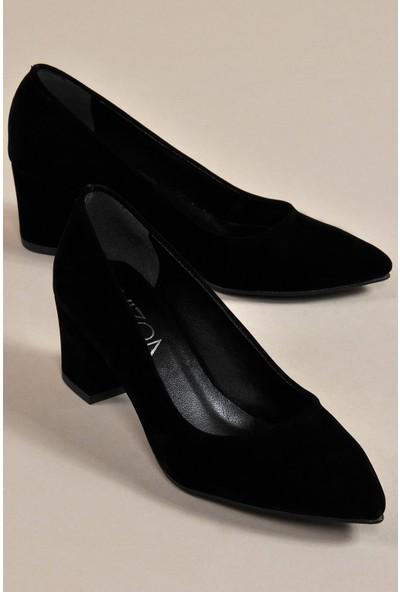 Vizon Kadın Siyah-Süet Klasik Topuklu Ayakkabı Vzn19-111K