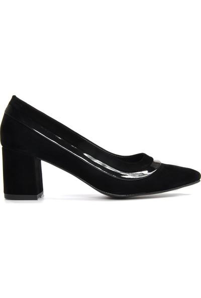Vizon Kadın Siyah-Süet Klasik Topuklu Ayakkabı Vzn19-112K