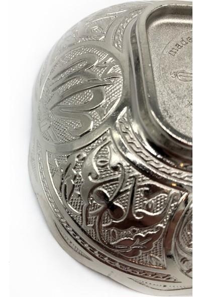 Kashni Ayet-El Kürsi Işlemeli Kâse Gümüş Rengi 10 cm