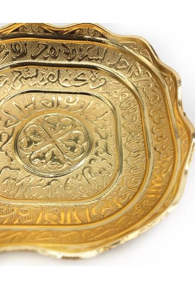 Kashni Ayet-El Kürsi Işlemeli Kâse Altın Rengi 10 cm