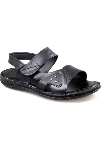 Perfect Slippers Erkek Siyah Deri Sandalet