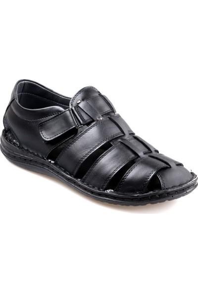 Perfect Slippers Erkek Siyah Deri Sandalet Ayakkabı